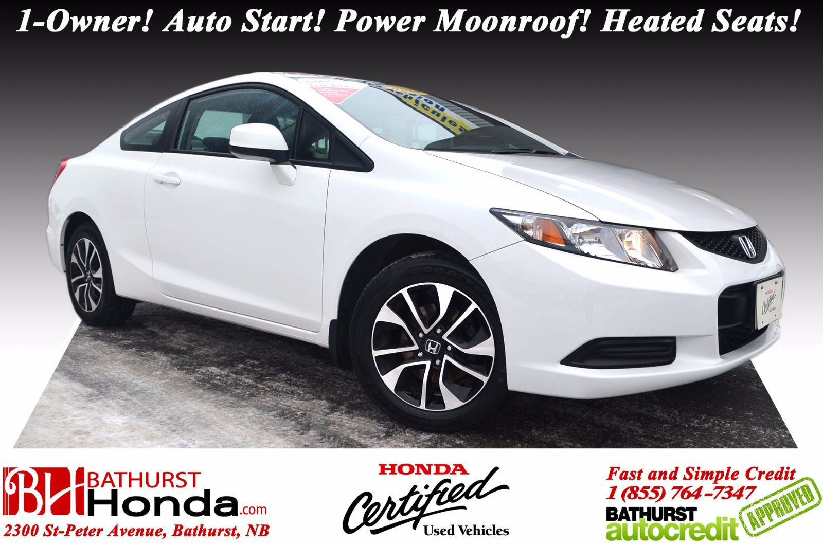 Honda Certified Pre Owned Warranty >> Used 2013 Honda Civic Coupe EX at Bathurst Honda | #16253A