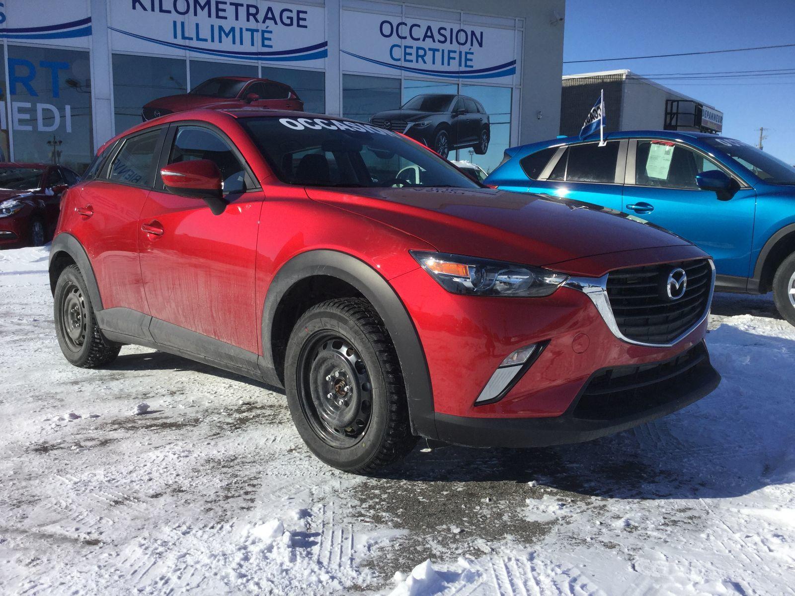 Mazda CX-3 **RÉSERVÉ**GS, VOLANT CHAUFFANT, SIEGES CHAUFFANTS 2018 CERTIFIER TAUX À PARTIR DE 0.9%, JAMAIS ACCIDENTÉ, UN SEUL PROPRIETAIRE