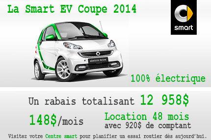Nos dernières Smart EV 2014 à aussi peu que 148$ par mois