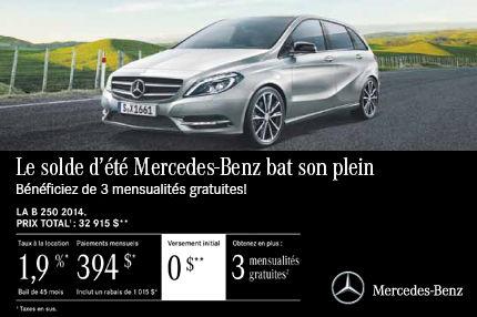 La Mercedes-Benz B250 2014 à compter de seulement 394$ par mois