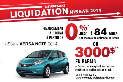 La Nissan Versa Note 2014 avec rabais de 3000$