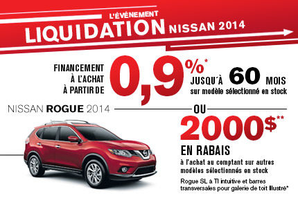 Nissan Rogue 2014 avec un rabais allant jusqu'à 2000$