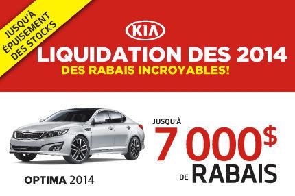 Rabais INCROYABLES jusqu'à 7000$ sur les modèles de Kia Optima 2014 sélectionnés