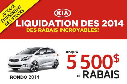 Liquidation des Kia Rondo 2014 avec 5500$ de rabais