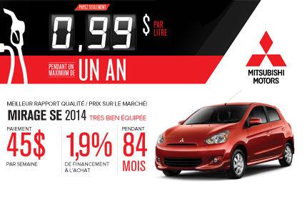 Mitsubishi Mirage 2014 à seulement 45$ par semaine