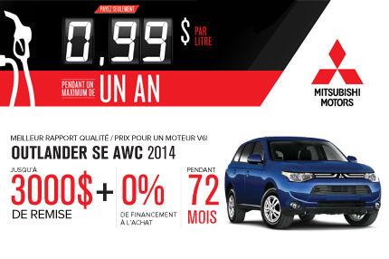 Nouveau Mitsubishi Outlander 2014 avec un rabais de 3000$