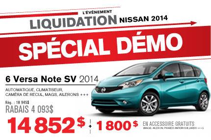 La Nissan Versa Note démo 2014 à seulement 14 852$