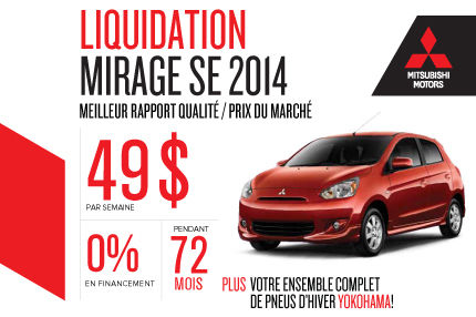 Liquidation des Mitsubishi Mirage 2014 à 49$ par semaine!
