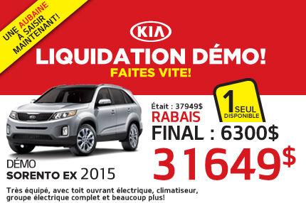 Liquidation de démos Kia: Sorento EX 2015 à 31 649$