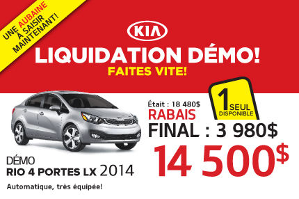 Liquidation de Kia: Rio LX + 2014 à 14 500$