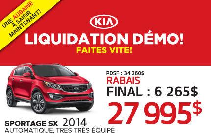 Liquidation des Kia Sportage démos 2014 à 27 995$