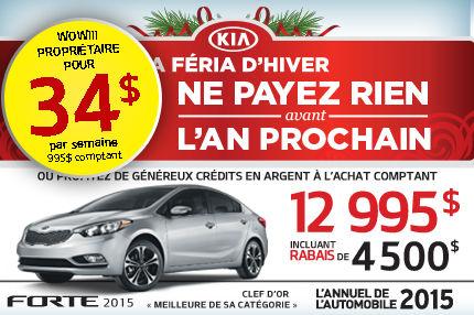 Achetez la nouvelle Kia Forte 2015 à compter de 12 995$