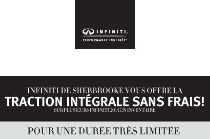 Traction intégrale sans frais chez Infiniti Sherbrooke