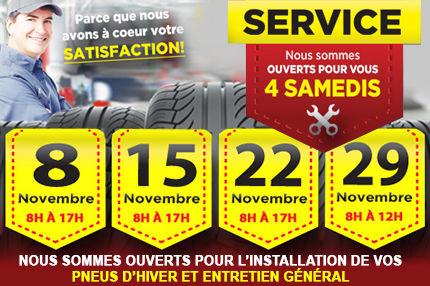 Ouverture du département de service les week-ends durant le mois de novembre