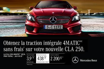 Classe CLA 250 2014 de Mercedes-Benz: paiements mensuels de 438$