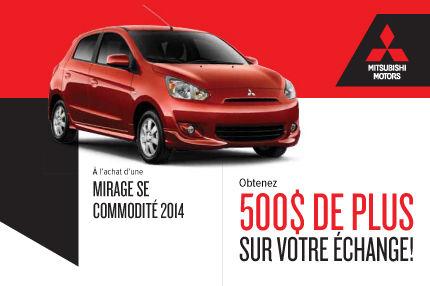 Mitsubishi Mirage 2014: 500$ de plus pour votre véhicule d'échange