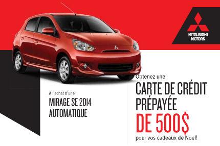Mitsubishi Mirage 2014: carte de crédit prépayée de 500$