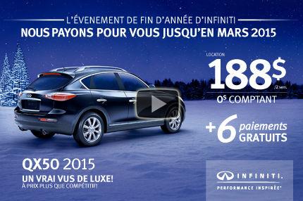 Une Infiniti QX50 2015 en location à 188$ aux 2 semaines