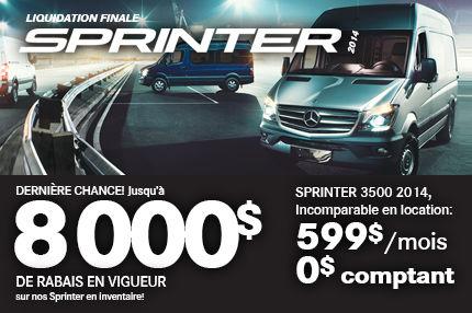 Retrouvez le Sprinter 2014 avec jusqu'à 8000$ de RABAIS!