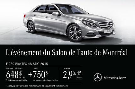 La Mercedes-Benz E250 2015 à partir de 648$ par mois