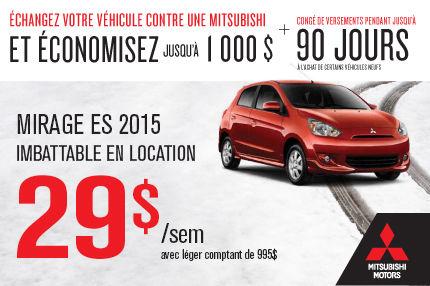 Mitsubishi Mirage 2014: à seulement 29$ par semaine
