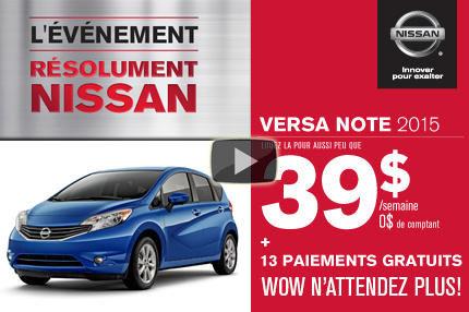 Nissan Versa Note 2015 en location à 39$ par semaine.