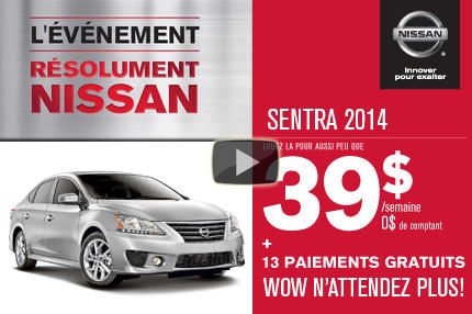 Nissan Sentra 2014 à 39$/semaine.