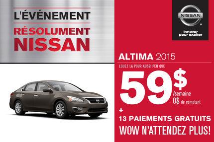 Nissan Altima 2015: paiements de 59$ par semaine.