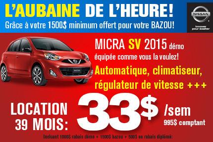 Nissan Micra 2015 à seulement 33$/ semaine