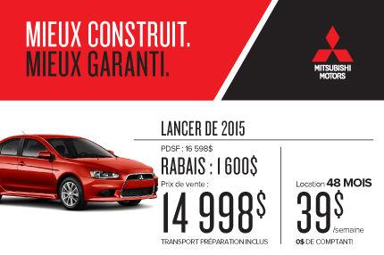 Mitsubishi Lancer 2015 à partir de seulement 39$ par semaine
