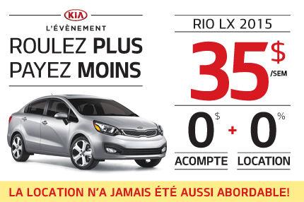 Le nouvelle Kia Rio 2015 à seulement 35$ par semaine