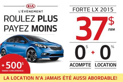 Louez la nouvelle Kia Forte 2015 à compter de 37$ par semaine