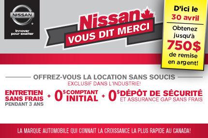 Nissan vous dit merci et vous offre des locations sans soucis