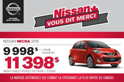 Nissan Micra 2015 à compter de 11 398$