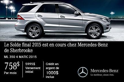 La Mercedes-Benz ML 350 2015 à partir de 758$ par mois