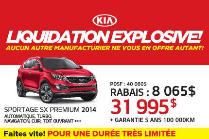 Le Kia Sportage SX Premium 2014 à seulement 31 995$