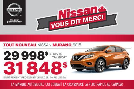 Nissan Murano 2015 à compter de 31 848$