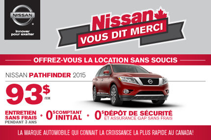Nissan Pathfinder 2015 en location: 93$ par semaine