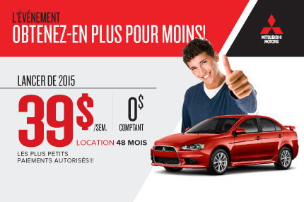 Mitsubishi Lancer DE 2015 à partir de seulement 39$ par semaine