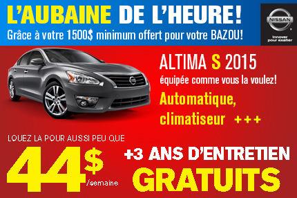 Nissan Altima S 2015 en location à 44$ par semaine