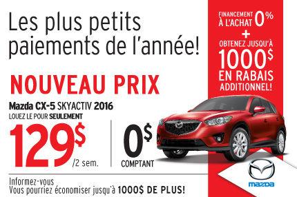 Le Mazda CX-5 2015 en location à 129$ aux 2 semaines
