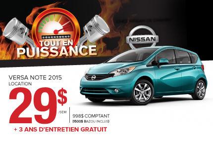 Nissan Versa Note 2015 en location à 29$ par semaine.