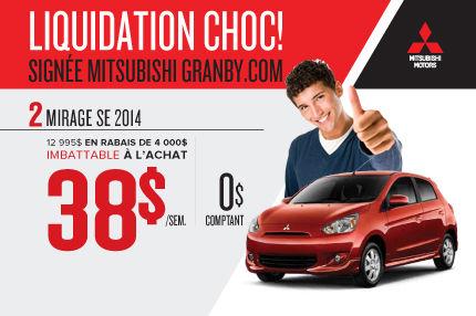 Dernier Mitsubishi Mirage 2014 seulement chez Mitsubishi Granby