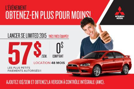 Mitsubishi Lancer SE Limited 2015 à partir de seulement 57$ par semaine
