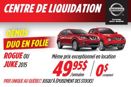 Nissan Rogue et Juke 2015: disponible à partir de 49,95$/sem en location
