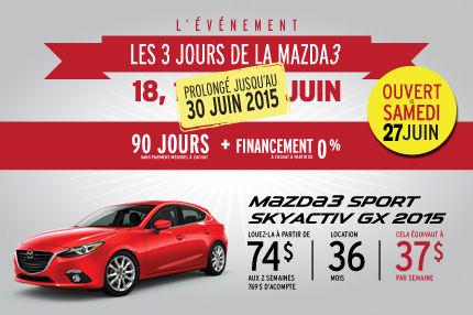 La Mazda 3 sport en location à 74$ aux 2 semaines