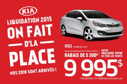 On fait d'la place chez Kia, la Rio 2015 à 9995$!