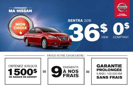 La Sentra 2015 offerte à 36$/semaine