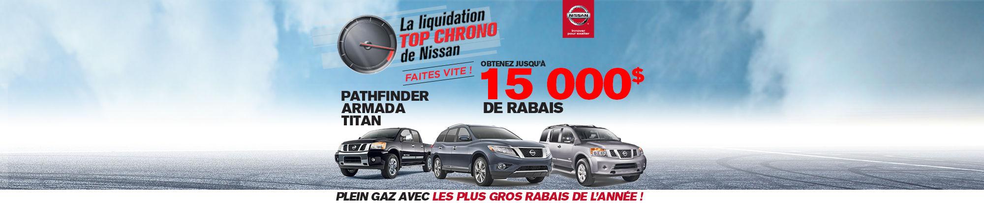 Cette semaine c'est la Liquidation TOP CHRONO chez vos concessionnaires de NISSAN!