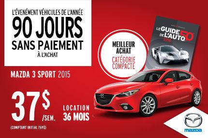 L'événement Véhicules de l'année : Mazda3 Sport à 37$/semaine